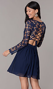 Image of navy blue short homecoming dress with long sleeves. Style: LP-PL-25720 Back Image