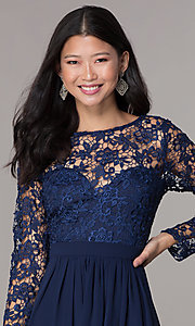 Image of navy blue short homecoming dress with long sleeves. Style: LP-PL-25720 Detail Image 1