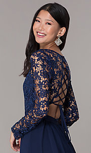 Image of navy blue short homecoming dress with long sleeves. Style: LP-PL-25720 Detail Image 2