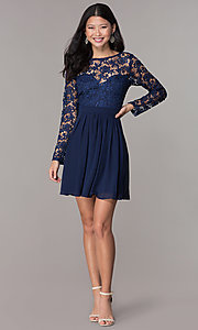 Image of navy blue short homecoming dress with long sleeves. Style: LP-PL-25720 Detail Image 3