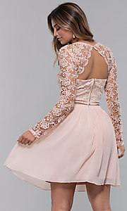 Image of long-sleeve two-piece short homecoming party dress. Style: LP-PL-90221 Back Image