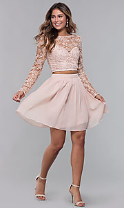 Image of long-sleeve two-piece short homecoming party dress. Style: LP-PL-90221 Detail Image 3