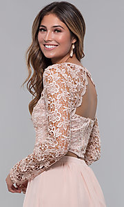 Image of long-sleeve two-piece short homecoming party dress. Style: LP-PL-90221 Detail Image 2