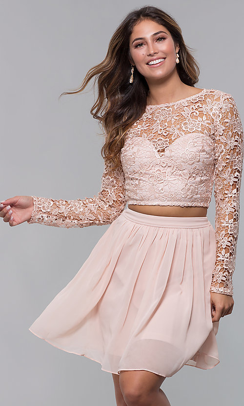Image of long-sleeve two-piece short homecoming party dress. Style: LP-PL-90221 Front Image