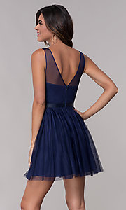 Image of embroidered v-neck homecoming short party dress. Style: LP-PL-27403 Back Image