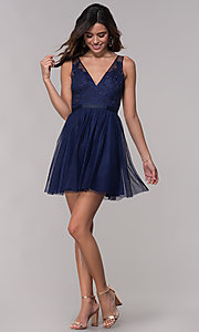 Image of embroidered v-neck homecoming short party dress. Style: LP-PL-27403 Detail Image 3