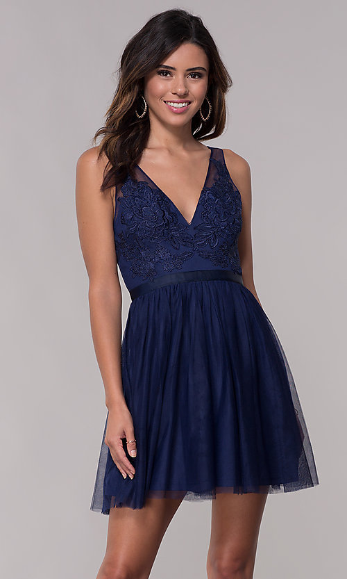 Image of embroidered v-neck homecoming short party dress. Style: LP-PL-27403 Front Image