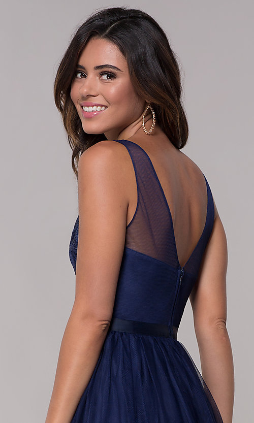 Image of embroidered v-neck homecoming short party dress. Style: LP-PL-27403 Detail Image 2
