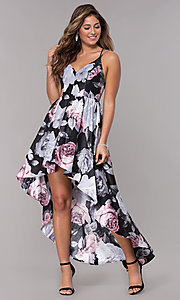 Image of floral-print caged-back high-low homecoming dress. Style: MY-7048PZ1S Front Image