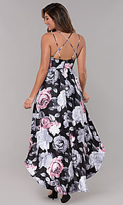 Image of floral-print caged-back high-low homecoming dress. Style: MY-7048PZ1S Back Image