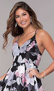 Image of floral-print caged-back high-low homecoming dress. Style: MY-7048PZ1S Detail Image 1