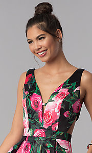 Image of floral-print JVN by Jovani homecoming party dress. Style: JO-JVN-JVN65166 Detail Image 2