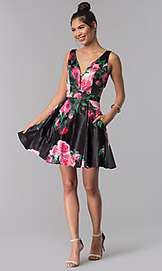 Image of floral-print JVN by Jovani homecoming party dress. Style: JO-JVN-JVN65166 Detail Image 3