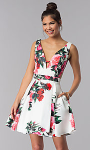 Image of floral-print JVN by Jovani homecoming party dress. Style: JO-JVN-JVN65166 Front Image