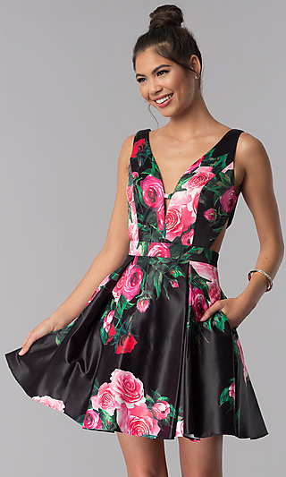 Floral-Print JVN by Jovani Homecoming Party Dress