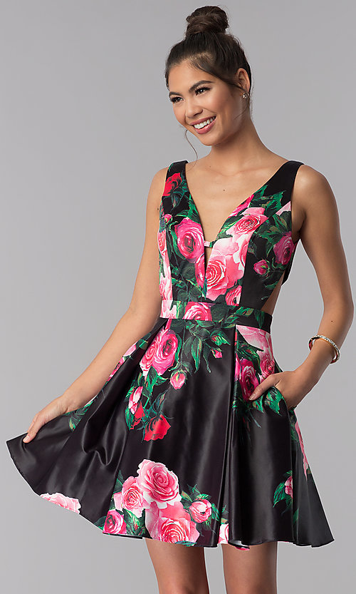 Image of floral-print JVN by Jovani homecoming party dress. Style: JO-JVN-JVN65166 Detail Image 1