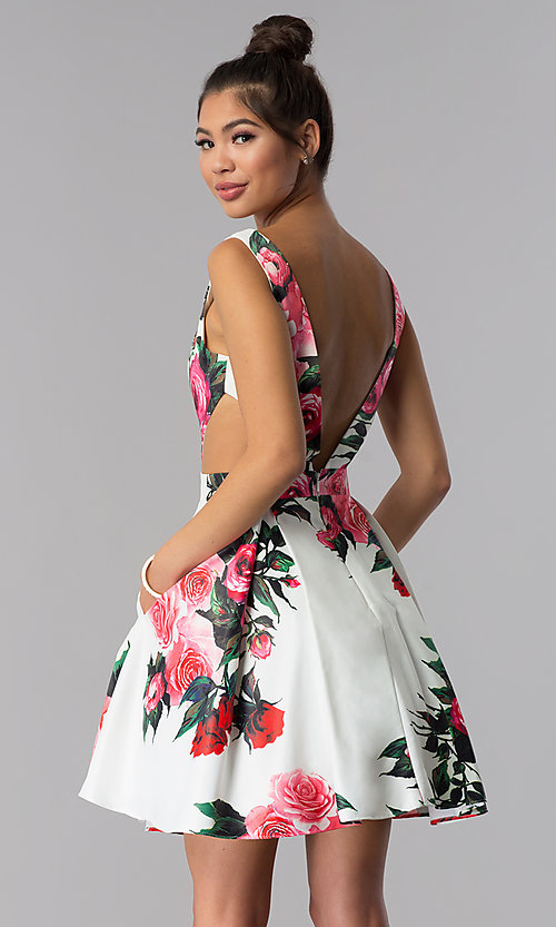 Image of floral-print JVN by Jovani homecoming party dress. Style: JO-JVN-JVN65166 Back Image