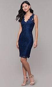 Image of short navy blue v-neck lace homecoming party dress. Style: LP-25707 Detail Image 3