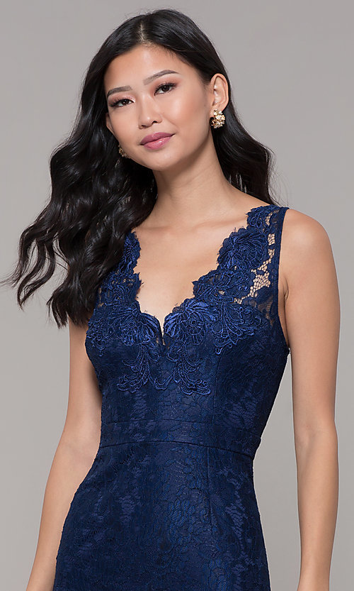 Image of short navy blue v-neck lace homecoming party dress. Style: LP-25707 Detail Image 1