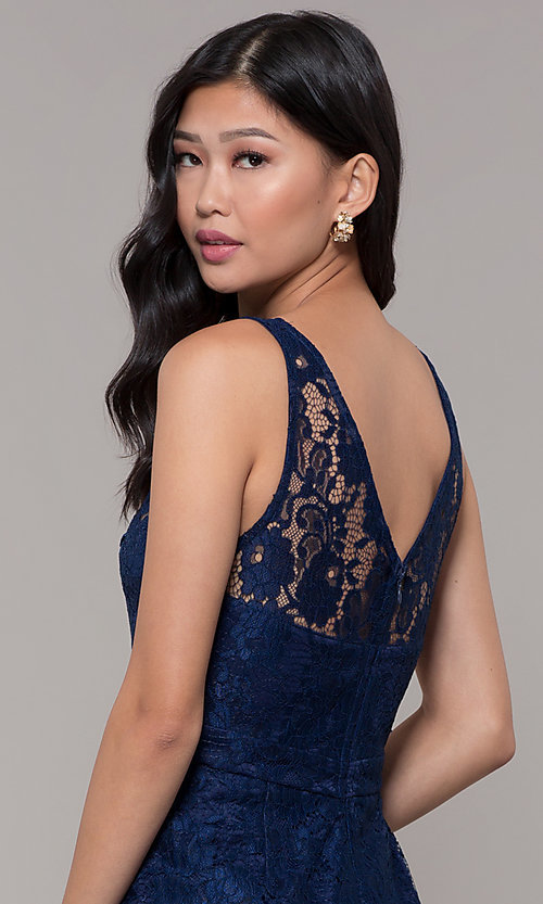 Image of short navy blue v-neck lace homecoming party dress. Style: LP-25707 Detail Image 2