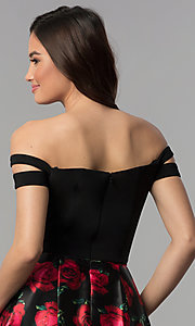 Image of short off-shoulder homecoming dress with print skirt. Style: BN-493BN Detail Image 2