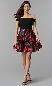 Image of short off-shoulder homecoming dress with print skirt. Style: BN-493BN Detail Image 3