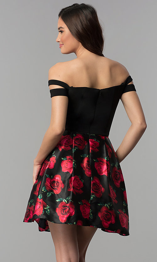 Image of short off-shoulder homecoming dress with print skirt. Style: BN-493BN Back Image