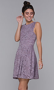 Image of lilac purple short lace wedding-guest party dress. Style: CT-3616PX1AT1 Front Image