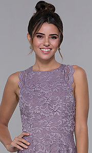Image of lilac purple short lace wedding-guest party dress. Style: CT-3616PX1AT1 Detail Image 1