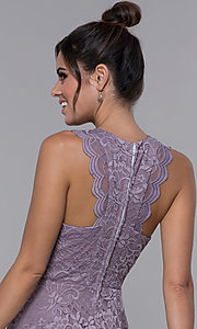 Image of lilac purple short lace wedding-guest party dress. Style: CT-3616PX1AT1 Detail Image 2