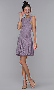 Image of lilac purple short lace wedding-guest party dress. Style: CT-3616PX1AT1 Detail Image 3