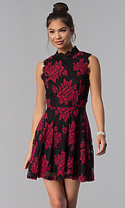 Image of black party dress with red floral-print lace applique. Style: CT-3551PV9LT1 Front Image
