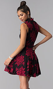 Image of black party dress with red floral-print lace applique. Style: CT-3551PV9LT1 Back Image