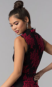 Image of black party dress with red floral-print lace applique. Style: CT-3551PV9LT1 Detail Image 2