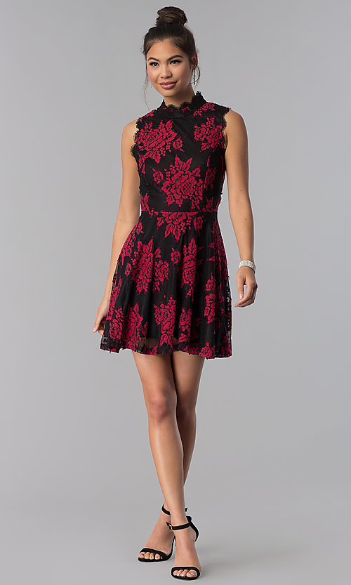 Image of black party dress with red floral-print lace applique. Style: CT-3551PV9LT1 Detail Image 3