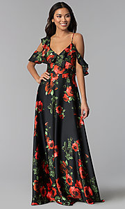 Image of floral-print cold-shoulder long wedding-guest dress. Style: MB-7211 Front Image