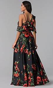 Image of floral-print cold-shoulder long wedding-guest dress. Style: MB-7211 Back Image