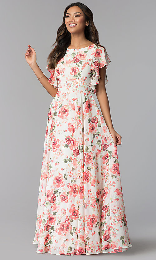 8e294cf2 Image of floral-print long chiffon wedding guest party dress. Style: MB-