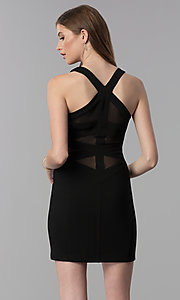 Image of v-neck short black party dress with sheer panels. Style: EM-HAY-1027-001 Front Image