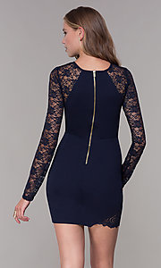 Image of long-lace-sleeved navy short wedding guest dress. Style: EM-FQY-3405-430 Back Image