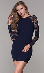 Image of long-lace-sleeved navy short wedding guest dress. Style: EM-FQY-3405-430 Front Image