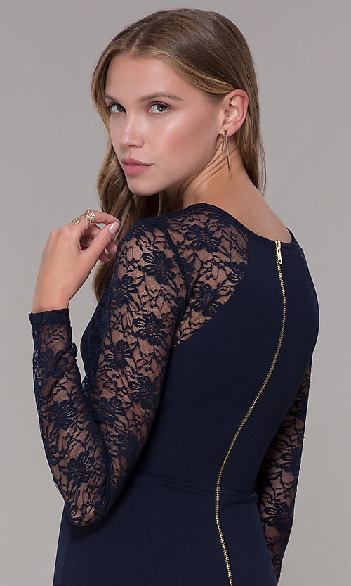 Image of long-lace-sleeved navy short wedding guest dress. Style: EM-FQY-3405-430 Detail Image 2