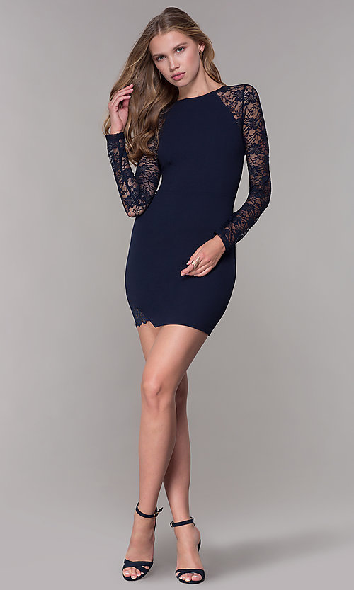 Image of long-lace-sleeved navy short wedding guest dress. Style: EM-FQY-3405-430 Detail Image 3