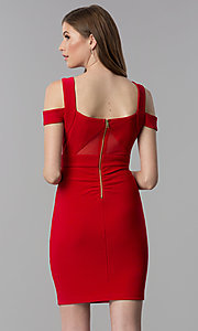 Image of short bandage-style cold-shoulder red party dress. Style: EM-FCX-1027-600 Back Image