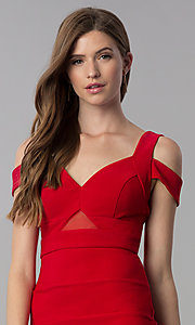 Image of short bandage-style cold-shoulder red party dress. Style: EM-FCX-1027-600 Detail Image 1