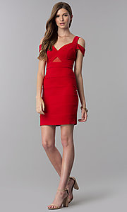 Image of short bandage-style cold-shoulder red party dress. Style: EM-FCX-1027-600 Detail Image 3