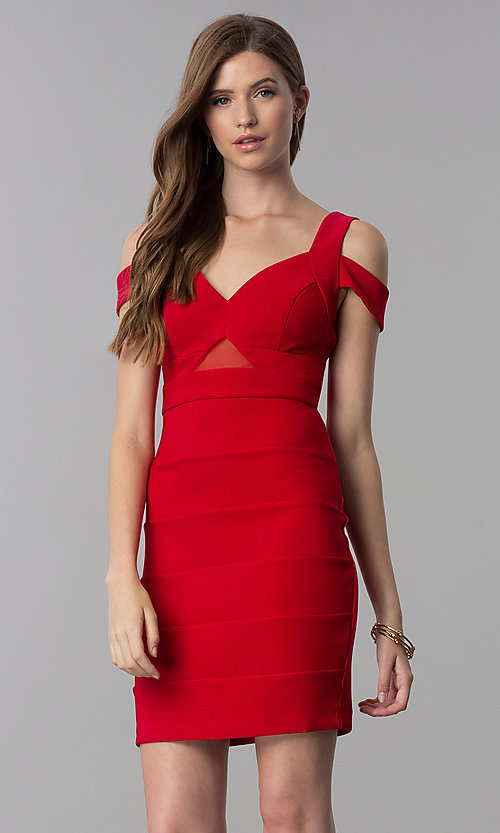 Image of short bandage-style cold-shoulder red party dress. Style: EM-FCX-1027-600 Front Image