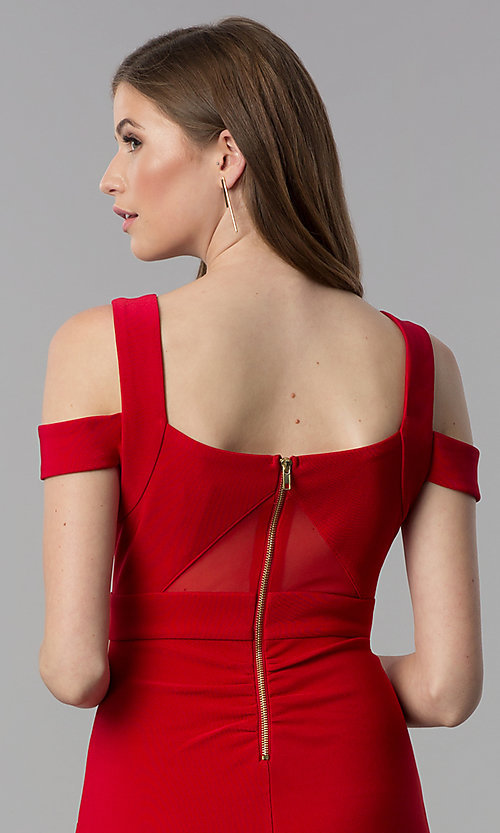 Image of short bandage-style cold-shoulder red party dress. Style: EM-FCX-1027-600 Detail Image 2