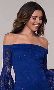 Image of off-shoulder bell-sleeve short wedding-guest dress. Style: EM-FLH-3822-414 Detail Image 1