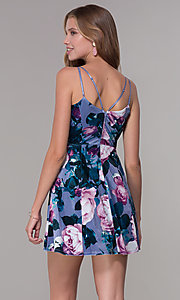 Image of wedding-guest short floral-print velvet dress. Style: EM-FLU-3817-540 Back Image